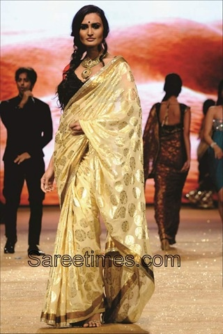 cream/offwhite saree fabric