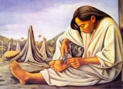 "La Espina (woman cutting thorn from her foot) by José Raúl Anguiano Valadez (1915–2006), Mexican painter part of the ""second generation"" of Mexican muralists which continued the tradition of Diego Rivera and others. His work focused on indigenous and rural Mexico. His  mural work was inspired by the Mexican Revolution (artesmexico - wiki)"