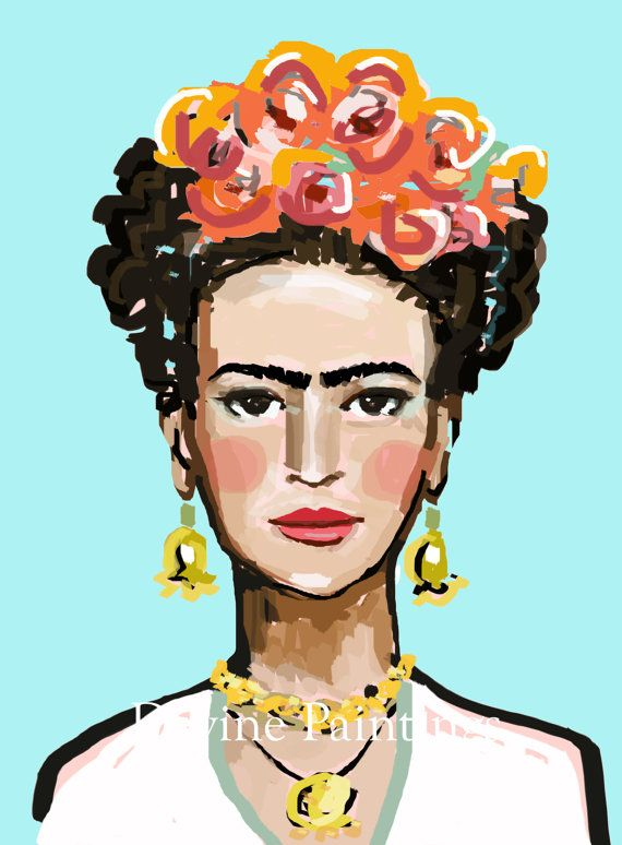 Frida Kahlo Print aqua roses orange 8 x 10 by DevinePaintings