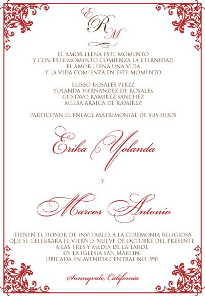 wedding invitation wording in spanish template - Spanish Wedding Invitation Wording