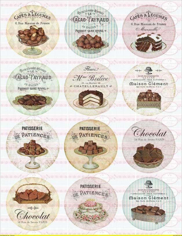 12 Bügelbilder Shabby Nostaligie Cupcake DIN A4