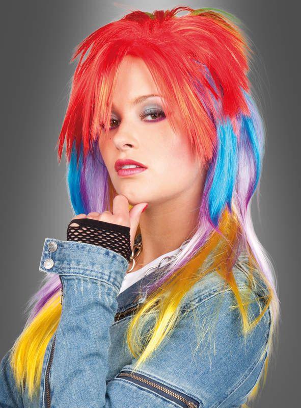 80er Jahre Frisur Perücke in bunten Farben
