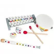 Four friends make a band--or one child, a versatile virtuoso withal these instruments! A tambourine and castanets comprise the rhythm section. The eight metal keyed xylophone and the recorder (flute) provide the melody and harmonies.