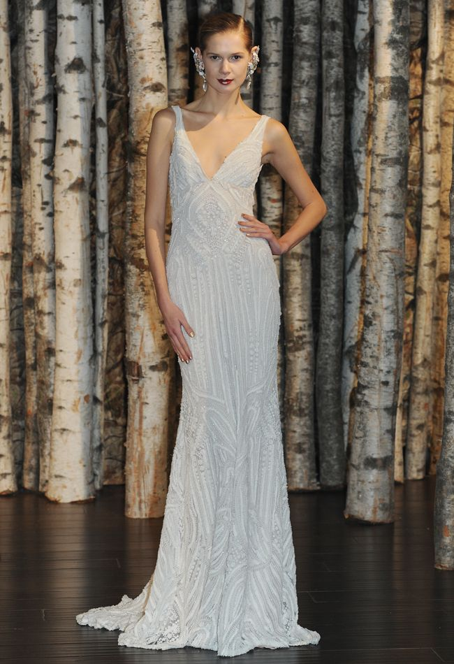 Naeem Khan Spring/Summer 2015 #white, beaded, v neck, wedding, dress, art deco