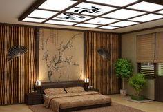 Просторная спальня в японском стиле