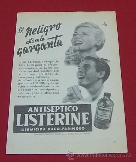 1958 LISTERINE PUBLICIDAD DE FARMACIA FEDERICO BONET MADRID ANUNCIO DE PRENSA VINTAGE