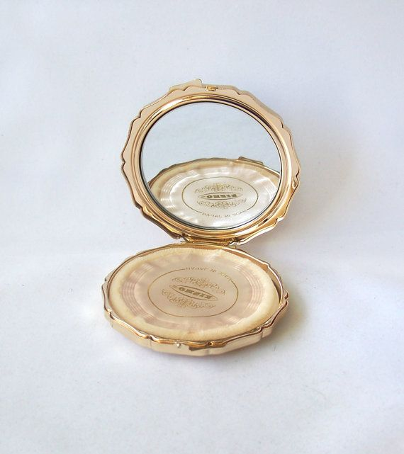 Vintage Slimline Octagonal Powder Compact Made in Japan Gold Tone