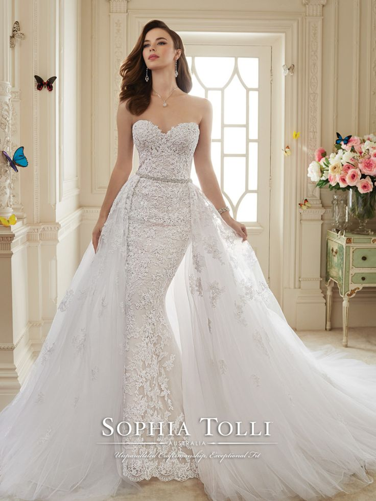 Sophia Tolli - Y11652 – Maeve - Two-piece lace and misty tulle wedding dress set, strapless sweetheart lace sheath and a court length train, detachable misty tulle full A-line overskirt with beaded belt at natural waist and chapel length train. Removable spaghetti and halter straps included. Also available with a back zipper as style Y11652ZB.Sizes: 0 – 28 Colors: White, French Beige, Ivory