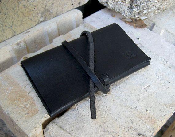 Bolsa para tabaco negro cartera artesanal de cuero bolsa para
