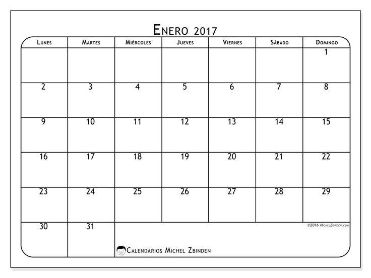 Gratis! Calendarios para enero 2017 para imprimir
