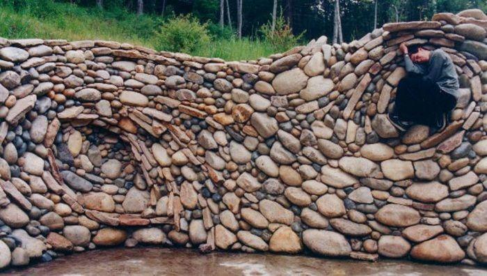 River rock wall santa cruz mountains by michael eckerman for River rock wall