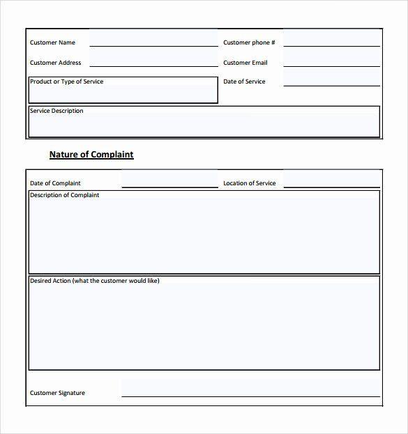 Customer Complaint Form Template Lovely Sample Customer Plaint Form Examples 7 Free Customer Complaints Communication Plan Template Attendance Sheet Template