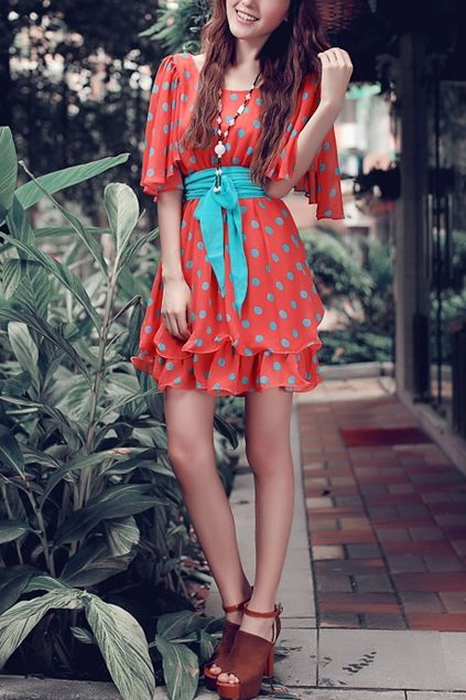 Dots Printing Petal Sleeve Double-layer Chiffon Dress with Girdle