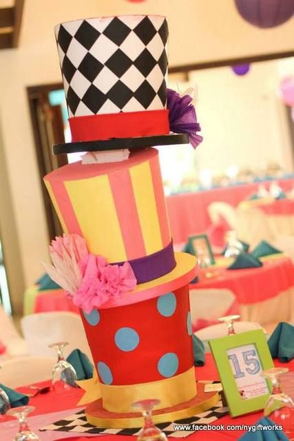 Stacked hats decoration at an Alice in Wonderland birthday party! See more party ideas at CatchMyParty.com!
