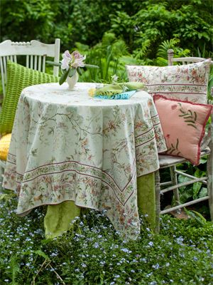 Peony Jacquard Tablecloth   Grass | Table Linens U0026 Kitchen, Tablecloths:Beautiful  Designs By · Kitchen TableclothsApril CornellTable ...