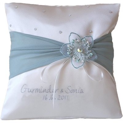 personalised embrodered wedding ring cushion duck egg and ivory with flower. £39.99