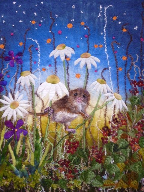 MarmaladeRose Field Mouse wool painting. Wet felted fibre art. Merio wool, wet felted, needle felted and embroidered.
