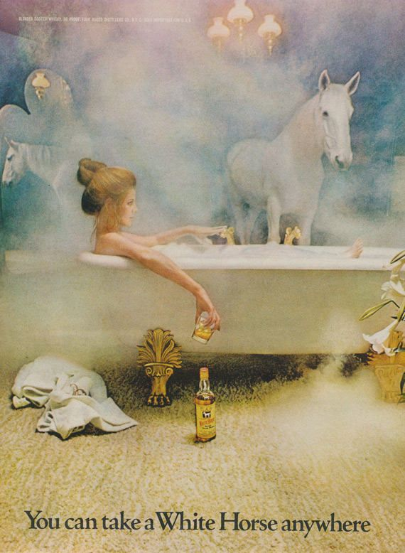 1971 White Horse Whisky Ad Ad Woman Bathtub Mystical Photo Bathroom Wall Art Bar Poster Fantasy Decor Vintage Liquor Advertising by AdVintageCom on Etsy