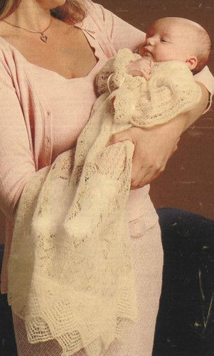 Gossamer lace christening gown    shetland lace pattern    vintage baby knitting pattern    16 chest size    2 ply weight wool