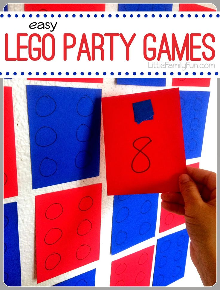 VERY simple and fun ideas for Lego Party Games. Added bonus: cute and easy Lego Party Decorations!