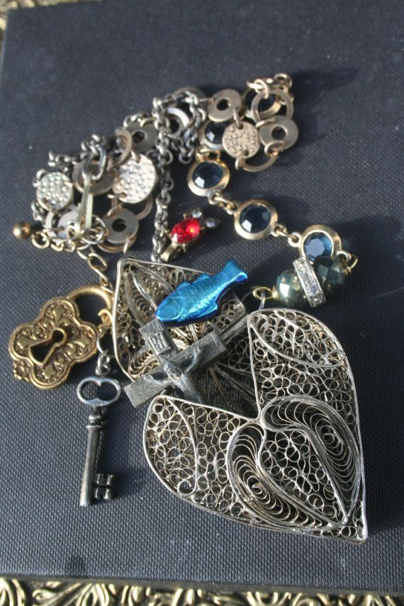 Heart locket Assemblage necklace Reliquary necklace