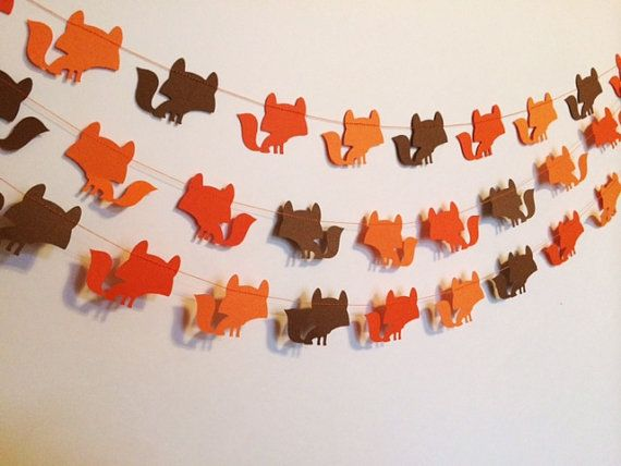 TriColor Orange Light Orange and Brown Woodland by SimplyScissors, $11.00~~FOX paper garland!! This would be cute @ the shower