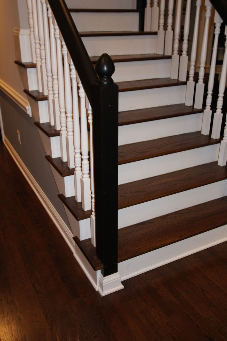 Jacobean Stained Floor Amp Stair Treads With White Spindles