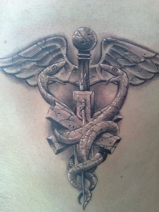 Cool EMS Tattoos | 30 Ultimate Caduceus Tattoo Ideas