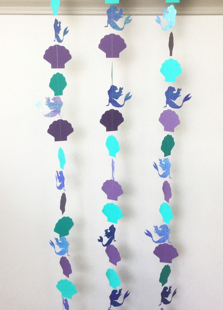 1 Little Mermaid Iridescent Purple and Teal Clam Shell Streamer For Baby Shower, Birthday Party, Baby Nursery