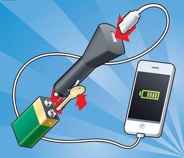"""Carregar seu telefone, você pode usar um de 9 volts """"coroa"""" e uma chave…"""