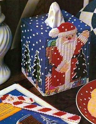 NORTH POLE FUN SANTA TISSUE BOX COVER and Candy Cane Bookmark from Deck the Halls in Plastic Canvas Book 3