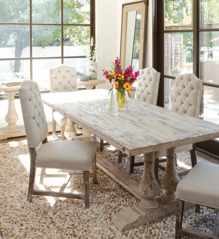 Natural Theme Dining Room Design Ideas With White Smooth Wash Finish Table  With Lux Comfort Cahir