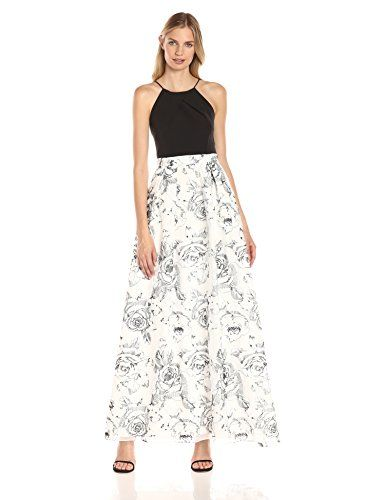 Aidan by Aidan Mattox Women's Long Halter Gown with Crepe Bodice and Full a Line Embroidered Lace Skirt, Ivory/Black, 4