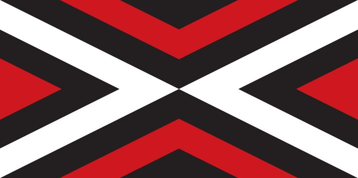 Unity (tukutuku) [1] by Michael John Hill from Auckland, tagged with: Black, Red, White, Cross.
