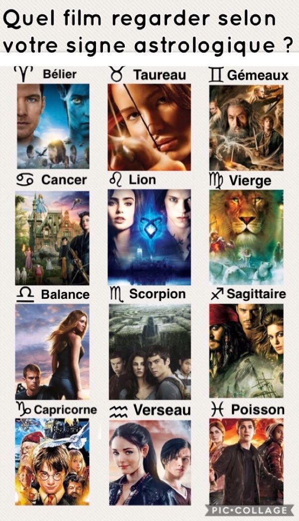 Bélier : Avatar / Taureau : Hunger Games / Gémeaux : Le Hobbit / Cancer : Miss Peregrine / Lion : The Mortal Instruments / Vierge : Le Monde De Narnia / Balance : Divergente / Scorpion : Le Labyrinthe / Sagittaire : Pirates des Caraïbes / Capricorne : Harry Potter / Verseau : Rouge Rubis / Poisson : Percy Jackson