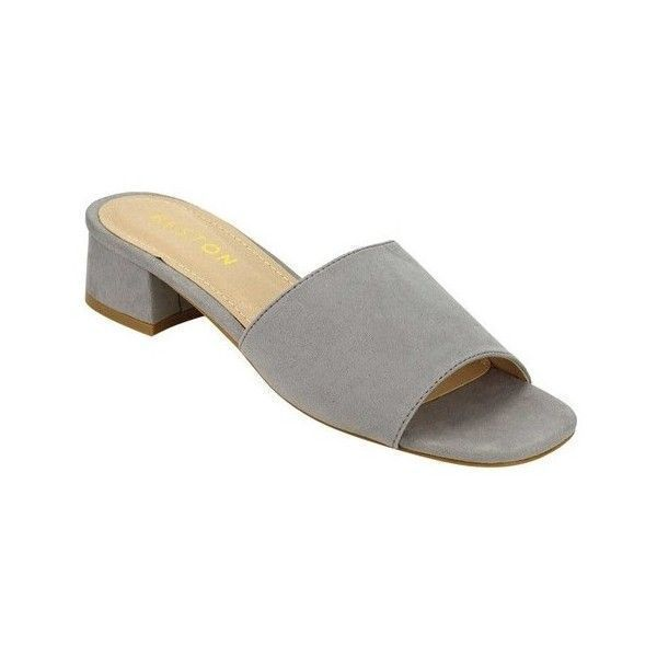 Women's Beston Fandy-1 Slide Sandal ($39) ❤ liked on Polyvore featuring shoes, sandals, casual, grey, block heel shoes, grey block heel sandals, chunky block heel sandals, small block heel sandals and small heel sandals #sandalsheelscasual