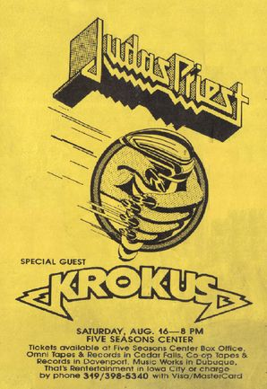Judas Priest/Krokus tour poster, 1986