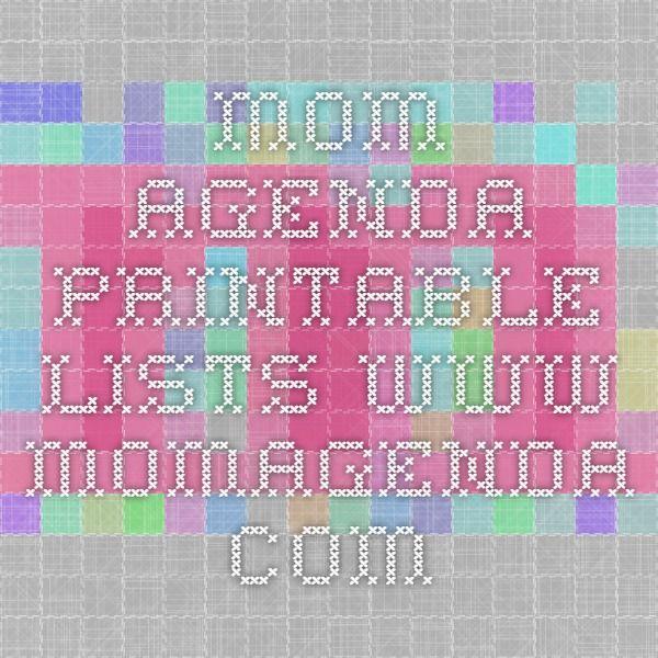 Mom Agenda Printable LISTS www.momagenda.com