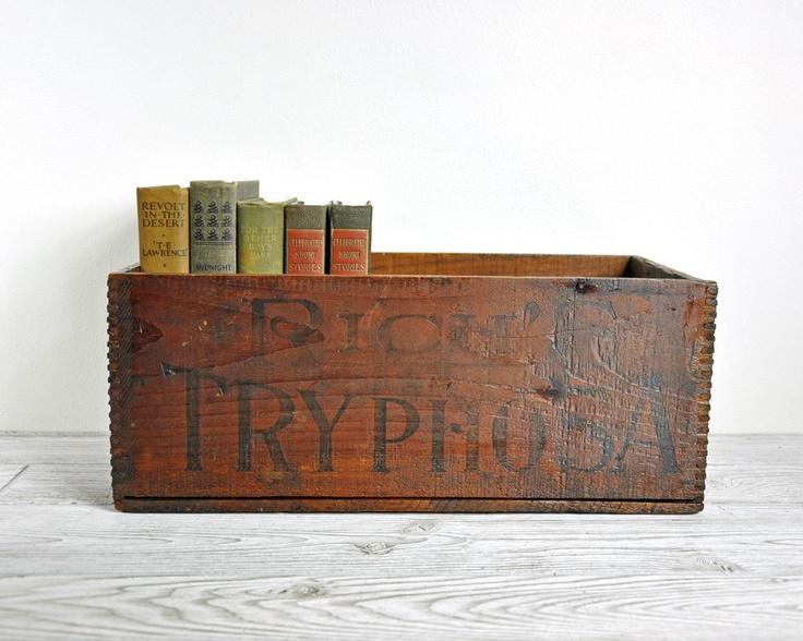 Antique Wooden Box / Rustic Wood Crate / Industrial Decor via Etsy.