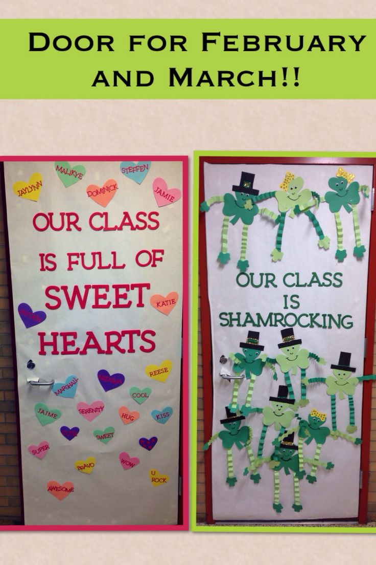 Classroom door ideas for Valentines day and St. Patricks day!