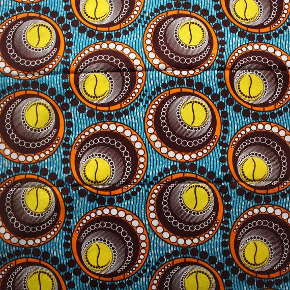 Tissu africain 6 verges cercles impression tissu par Urbanstax