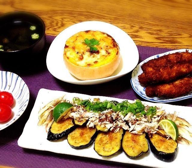 茄子のタタキにバターナッツカボチャのグラタン、野菜中心のメニューにしました。千尋さんの真似っこ〜〜! 食べ友よろしくお願いします。 - 188件のもぐもぐ - ワカメとオクラのスープ・バターナッツカボチャの丸ごとキノコグラタン・串カツ・咲きちゃんの茄子のタタキ・プチトマト by madammay