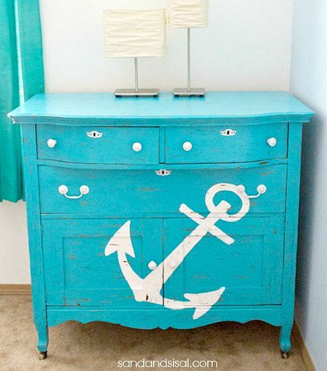 Anchor dresser and 21 more ideas how to add a coastal and nautical touch to a dresser: http://www.completely-coastal.com/2016/01/dresseer-makeover-coastal-beach-nautical.html