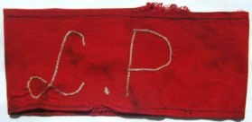 """Germany, armband of the camp police (""""Lagerpolizei"""") with inscription L.P., white on red 1935-45"""