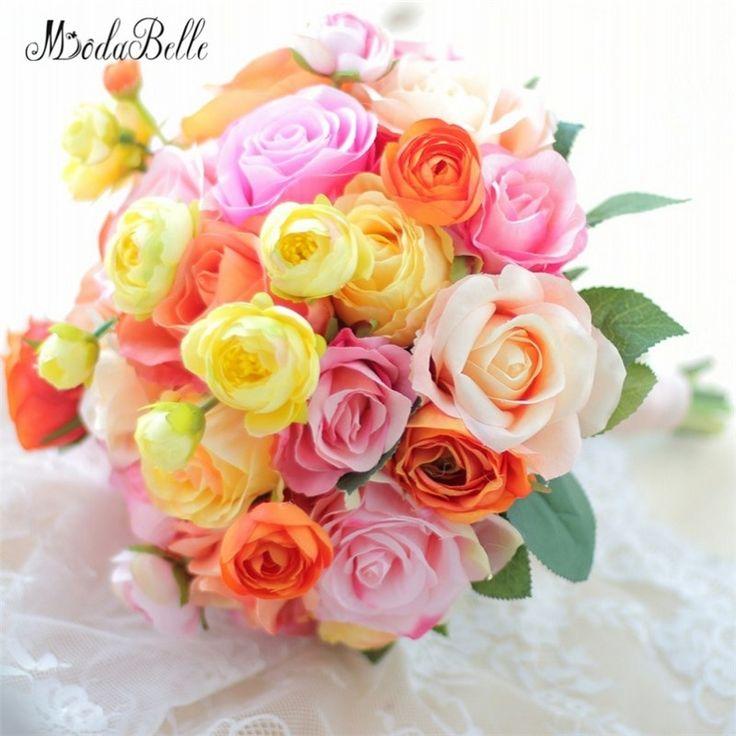 modabelle 2018 Orange Yellow Bridal Bouquet Wedding Flower Artificial Camellia Rose Bridesmaids Bride's Bouquet Decoration DIY