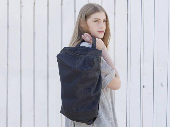 Blue Net Leather Backpack, Women Laptop Bag, #bagsandpurses #backpack @EtsyMktgTool http://etsy.me/2fBRKYD