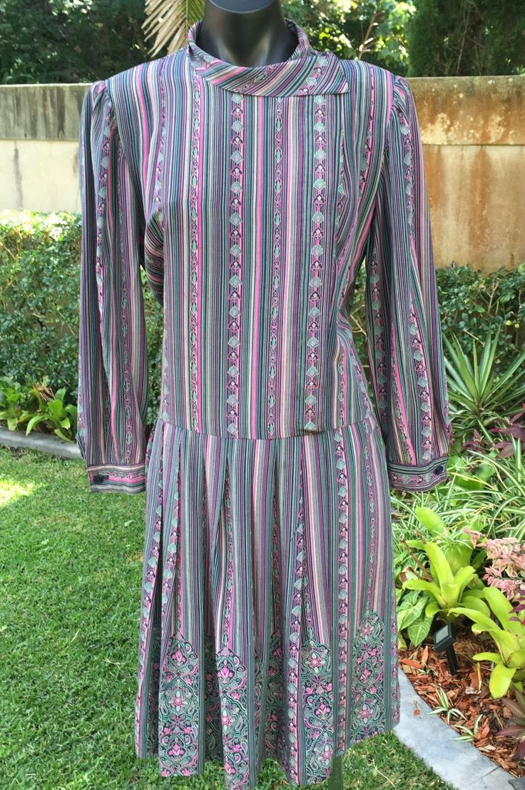 Vintage Italian tailored 70s 100% silk dropped waist dress Size 10-12 FREE FREIGHT WORLDWIDE by PippiLime on Etsy