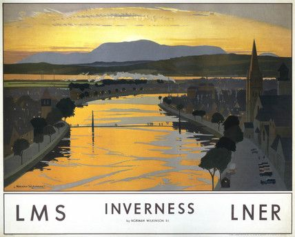 Poster produced for the London, Midland & Scottish Railway (LMS) and the London & North Eastern Railway (LNER) to promote rail travel to Inverness. The poster shows a view of Inverness, with the sunset reflected in the water of the River Ness below, and mountains and the smoke of a steam train in the distance. Norman Wilkinson (1878-1971), who studied art at Portsmouth and Southsea Schools of Art.