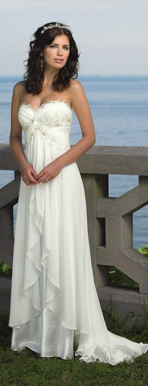 Vestido de novia ideal para bodas al aire libre. Corte Imperio.                                                                                                                                                                                 Más