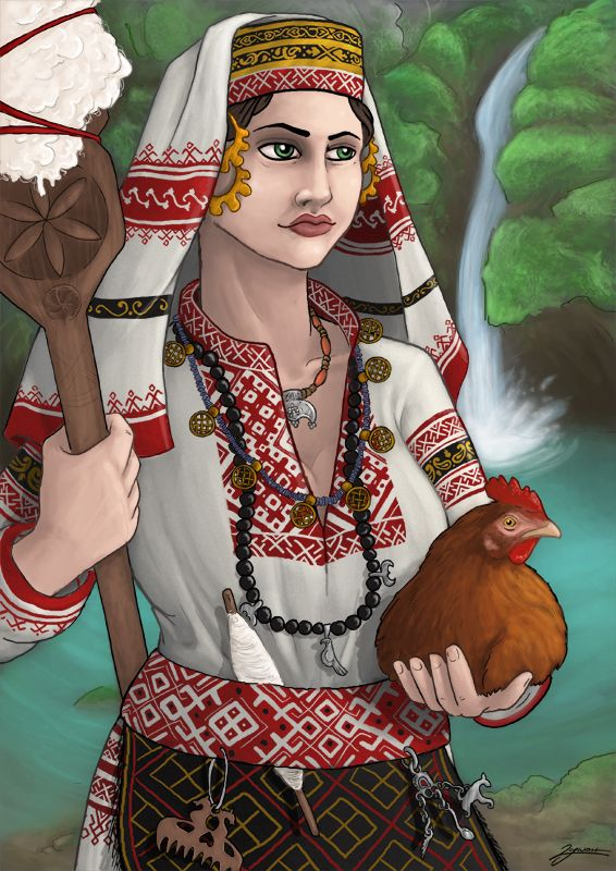 Mokosh is a Slavic goddess attested in the Primary Chronicle, connected with female activities such as shearing, spinning and weaving.  Art by: http://silni.deviantart.com